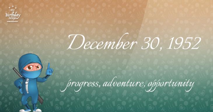 December 30, 1952 Birthday Ninja