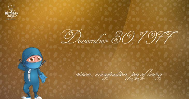 December 30, 1977 Birthday Ninja