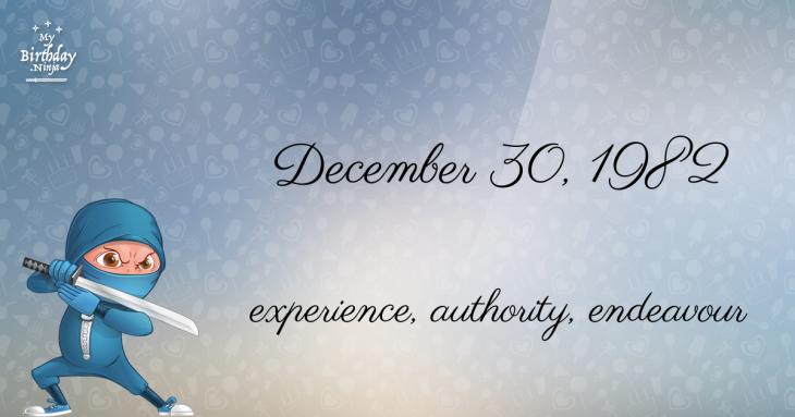 December 30, 1982 Birthday Ninja