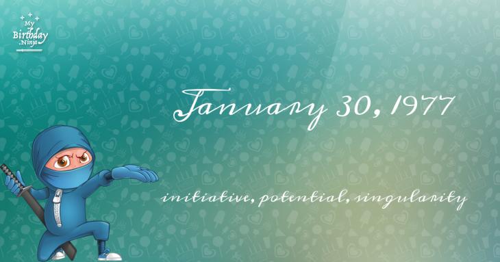 January 30, 1977 Birthday Ninja