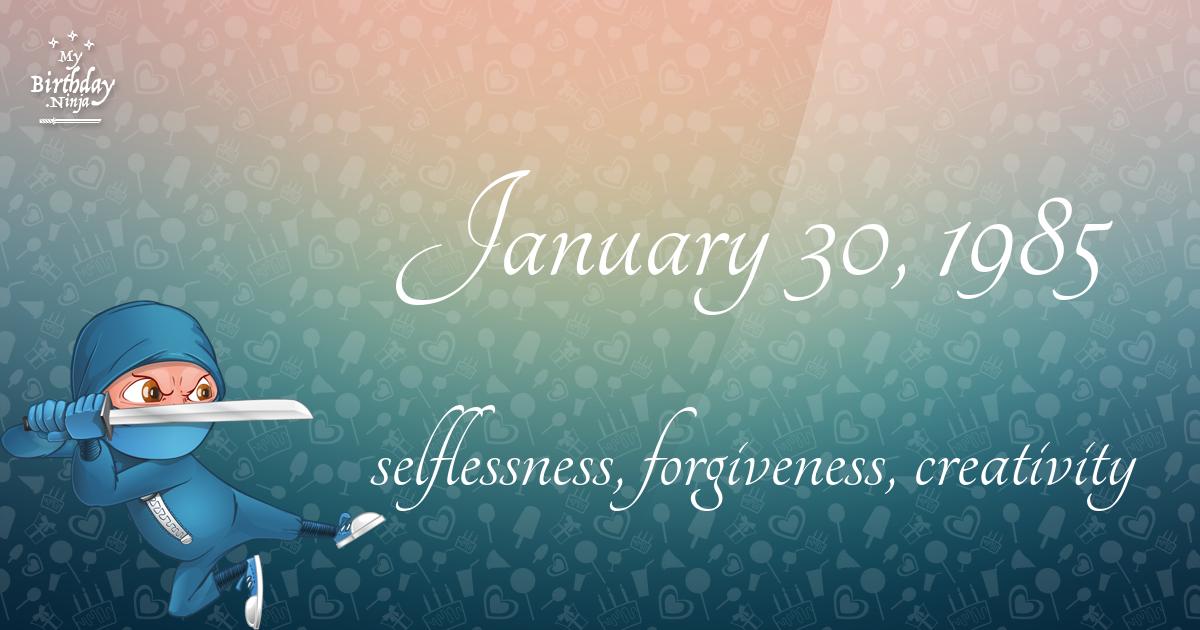 January 30, 1985 Birthday Ninja Poster