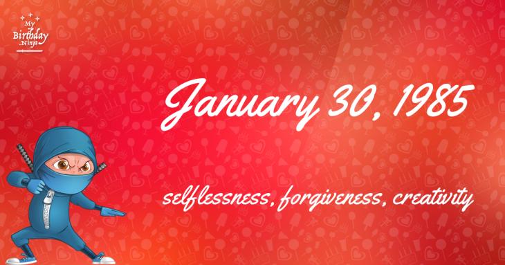 January 30, 1985 Birthday Ninja
