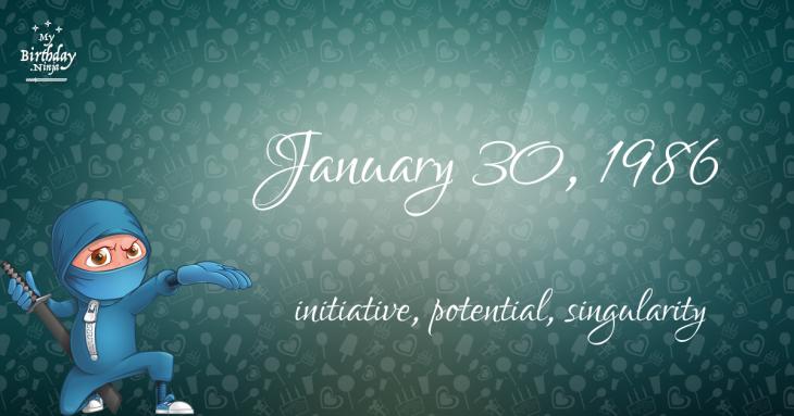 January 30, 1986 Birthday Ninja