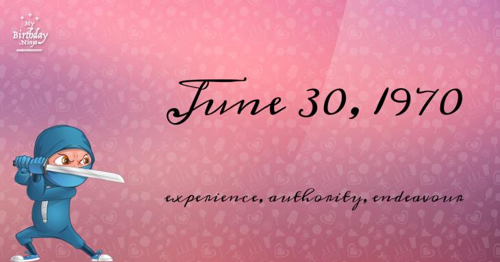 June 30, 1970 Birthday Ninja