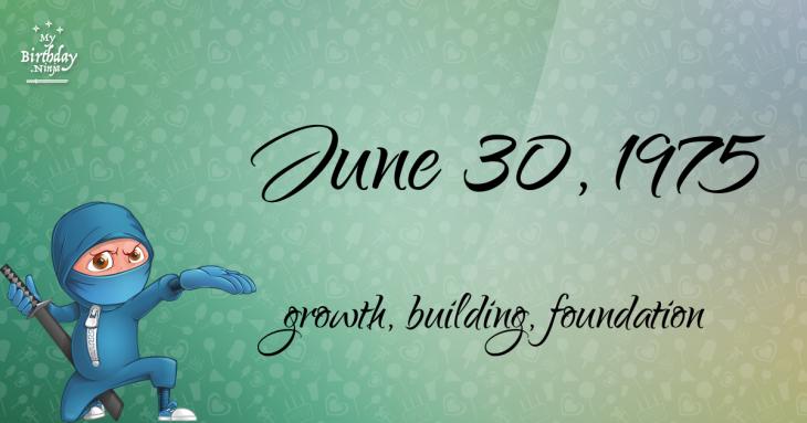 June 30, 1975 Birthday Ninja