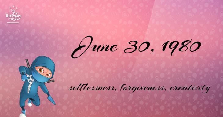 June 30, 1980 Birthday Ninja