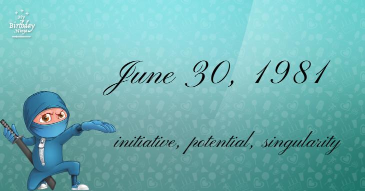 June 30, 1981 Birthday Ninja