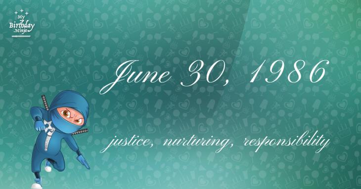 June 30, 1986 Birthday Ninja
