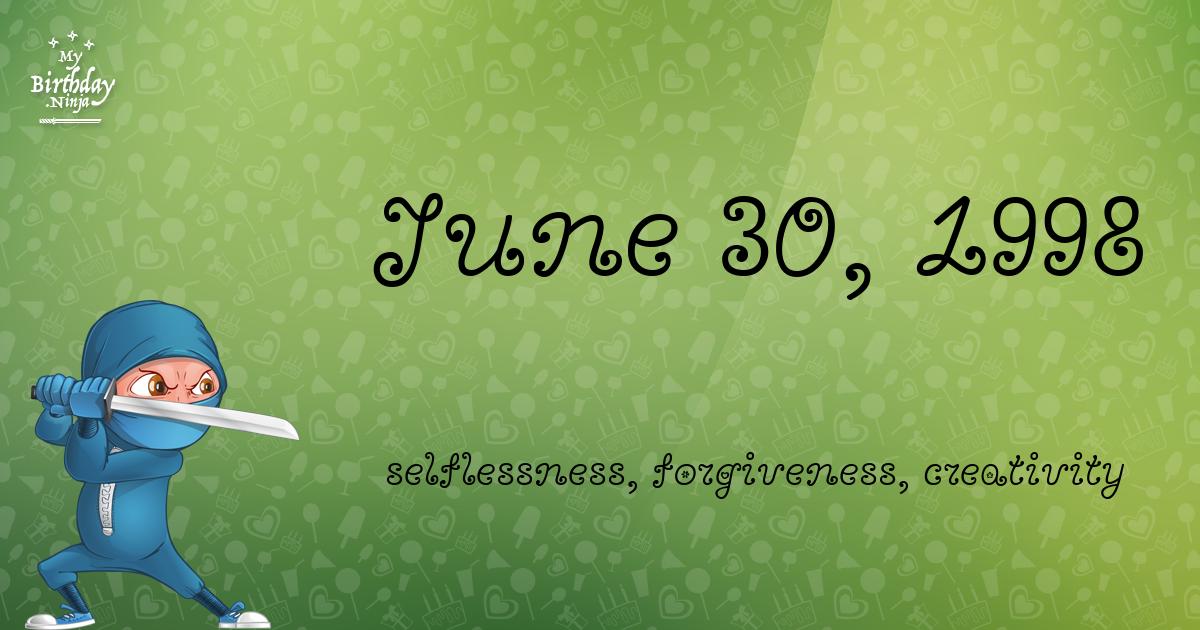 June 30, 1998 Birthday Ninja Poster