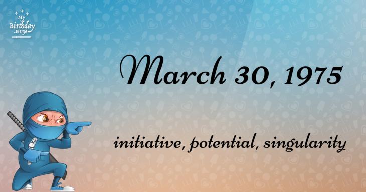 March 30, 1975 Birthday Ninja