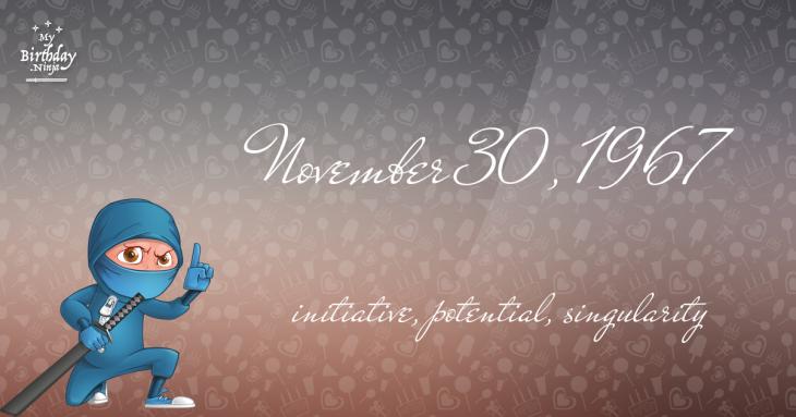 November 30, 1967 Birthday Ninja