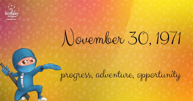 November 30, 1971 Birthday Ninja