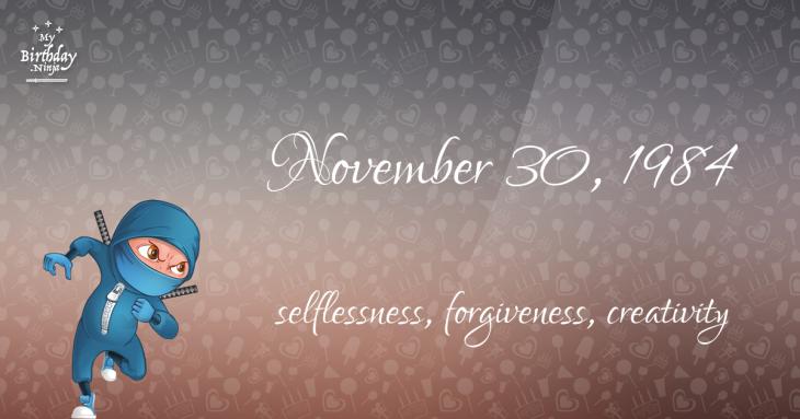 November 30, 1984 Birthday Ninja