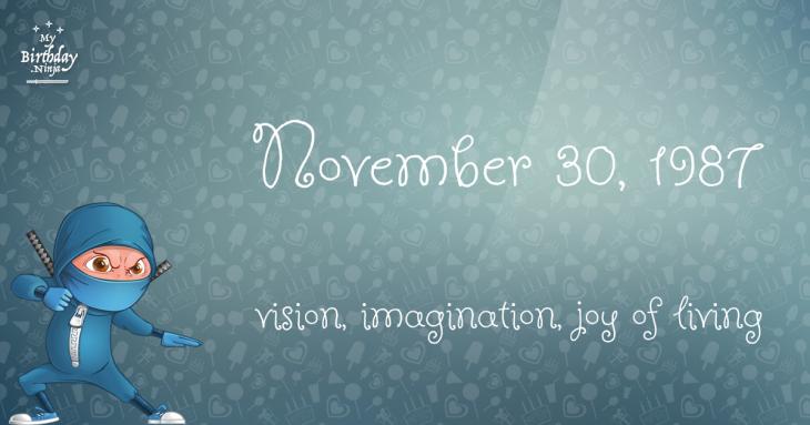 November 30, 1987 Birthday Ninja