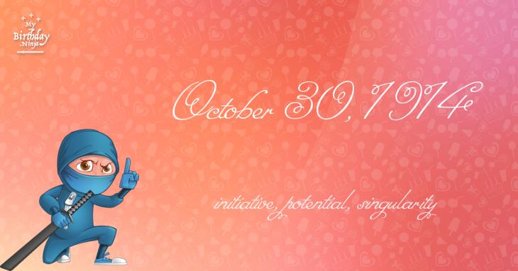 October 30, 1914 Birthday Ninja