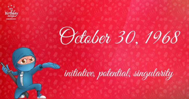 October 30, 1968 Birthday Ninja