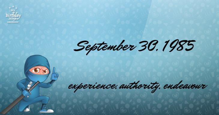 September 30, 1985 Birthday Ninja