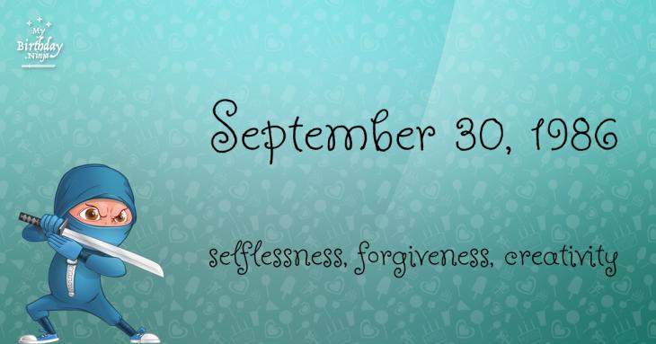 September 30, 1986 Birthday Ninja
