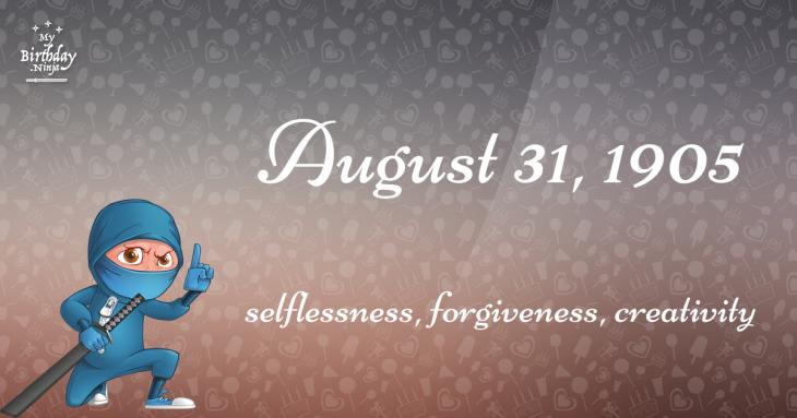 August 31, 1905 Birthday Ninja