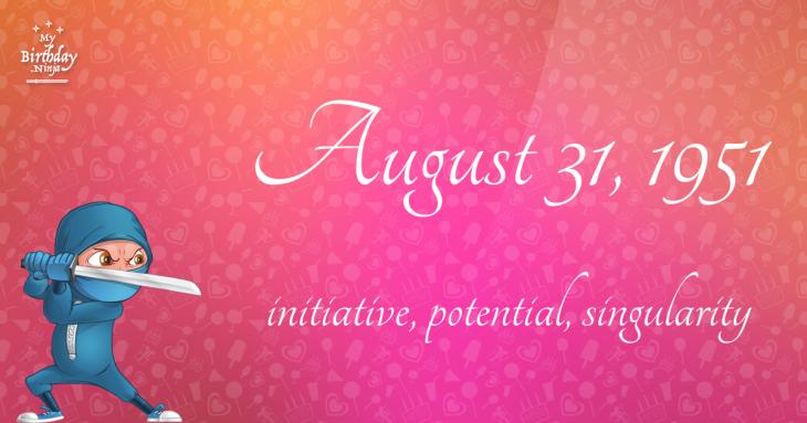 August 31, 1951 Birthday Ninja