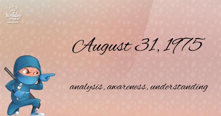 August 31, 1975 Birthday Ninja