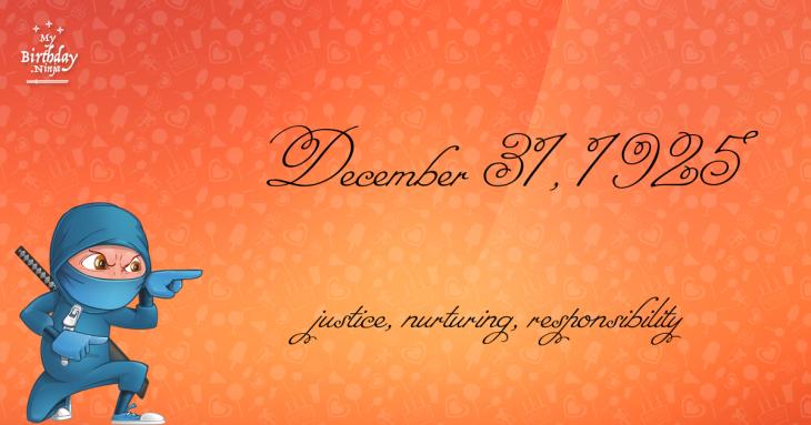 December 31, 1925 Birthday Ninja