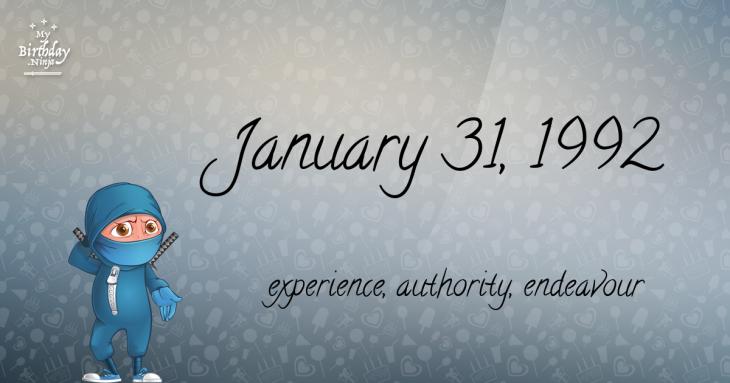 January 31, 1992 Birthday Ninja