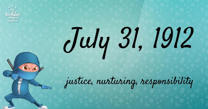 July 31, 1912 Birthday Ninja