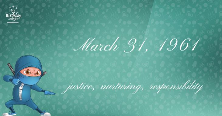 March 31, 1961 Birthday Ninja