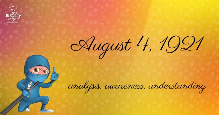 August 4, 1921 Birthday Ninja