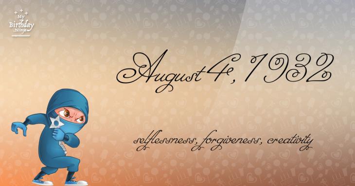 August 4, 1932 Birthday Ninja