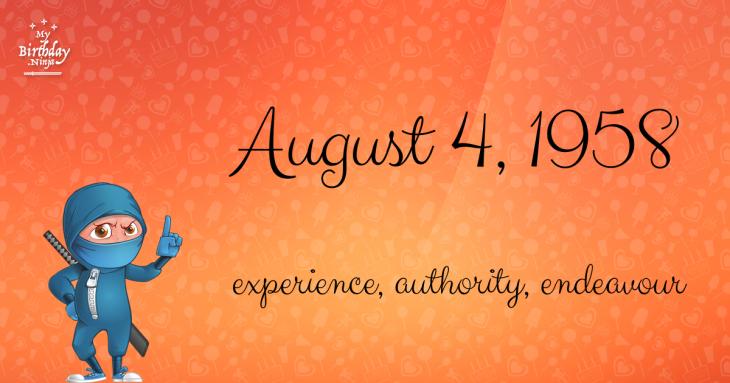 August 4, 1958 Birthday Ninja