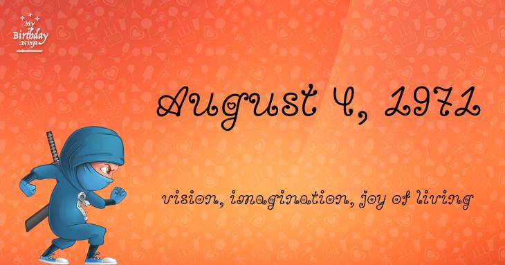 August 4, 1971 Birthday Ninja