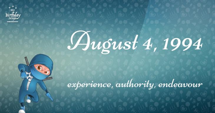 August 4, 1994 Birthday Ninja