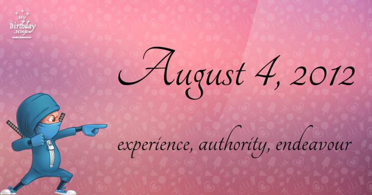 August 4, 2012 Birthday Ninja