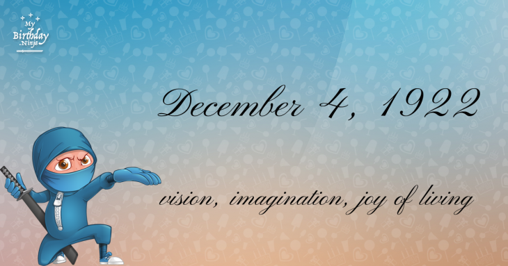 December 4, 1922 Birthday Ninja