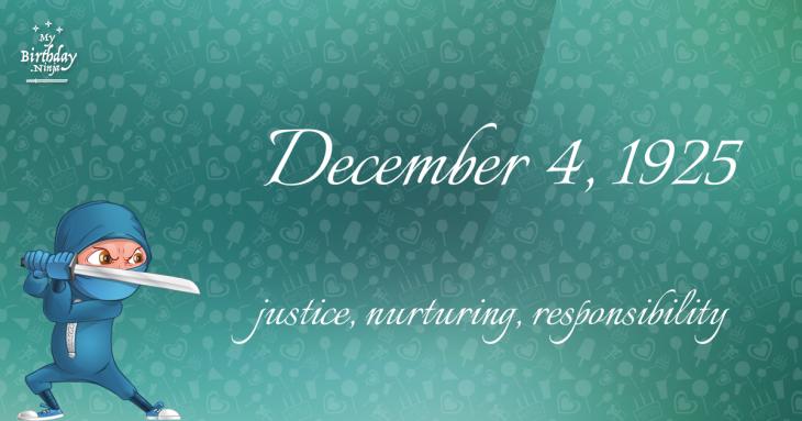 December 4, 1925 Birthday Ninja