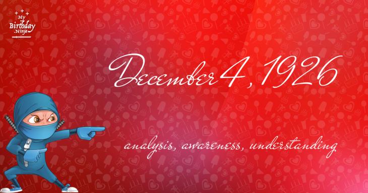 December 4, 1926 Birthday Ninja