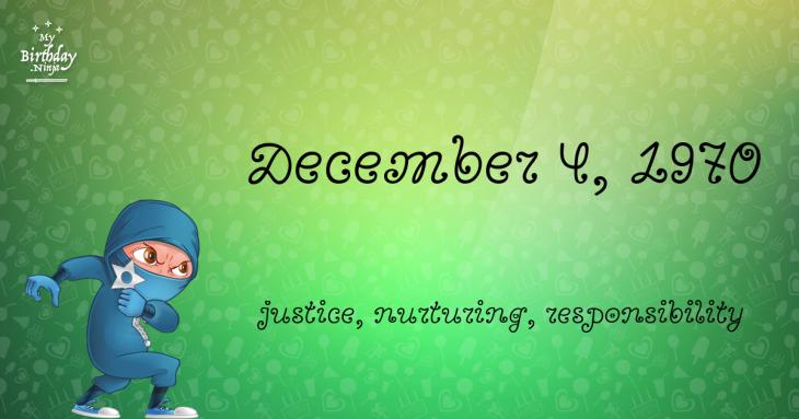 December 4, 1970 Birthday Ninja