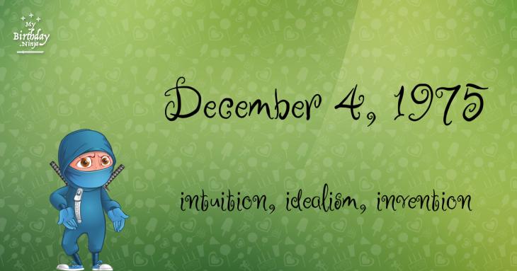 December 4, 1975 Birthday Ninja