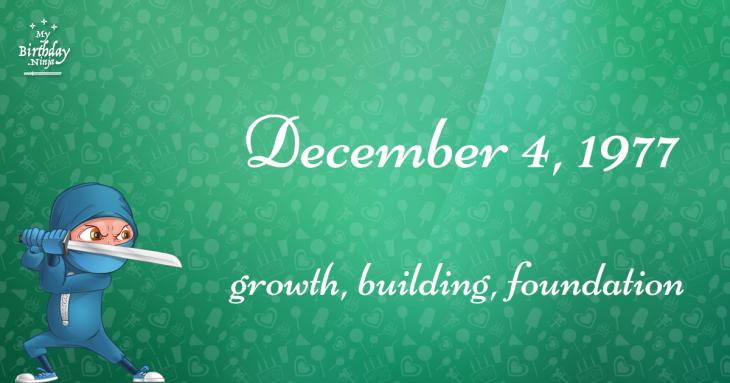 December 4, 1977 Birthday Ninja