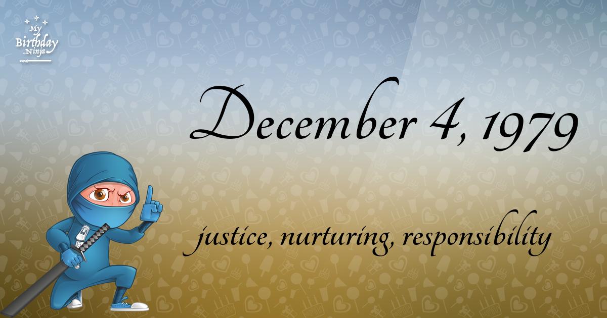December 4, 1979 Birthday Ninja Poster
