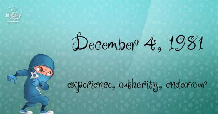 December 4, 1981 Birthday Ninja