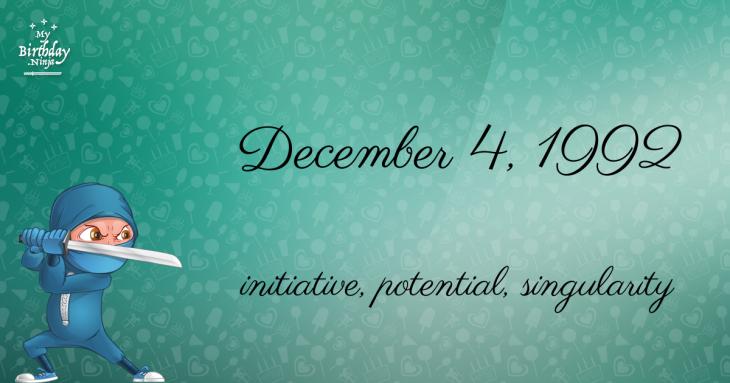December 4, 1992 Birthday Ninja