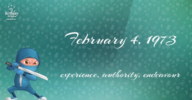 February 4, 1973 Birthday Ninja