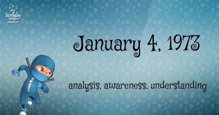 January 4, 1973 Birthday Ninja
