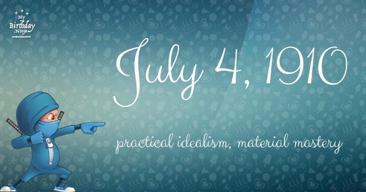 July 4, 1910 Birthday Ninja