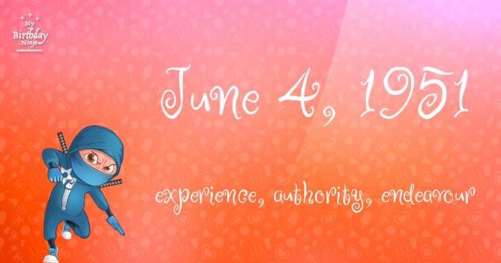 June 4, 1951 Birthday Ninja