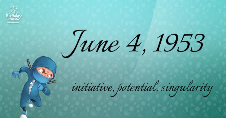June 4, 1953 Birthday Ninja