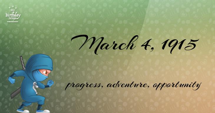 March 4, 1915 Birthday Ninja